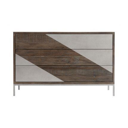 A quirky three drawer chest from Bernhardt with a textured wood finish and smooth steel overlays