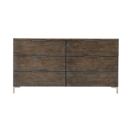 A contemporary six drawer dresser with a brown aged wood finish, steel tab pulls and grey feet