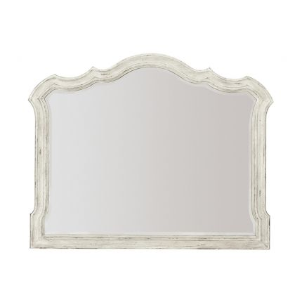 A beautiful antique mirror from Bernhardt with a bevelled mirrored edge and classic white frame