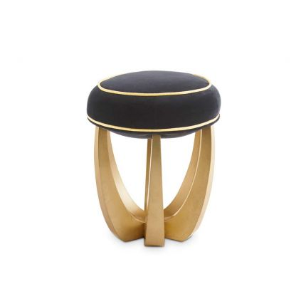 An exquisitely glamorous stool with a luxury velvet upholstery and gold leaf legs