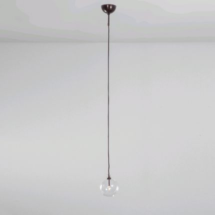 Black gunmetal industrial ceiling pendant light with clear glass globe lampshade