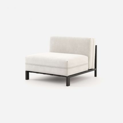 Outdoor, middle module of corner sofa in white with black frame