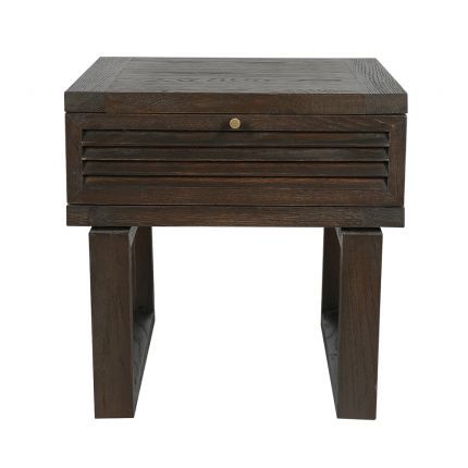 dark brown oak side table with louvred drawer