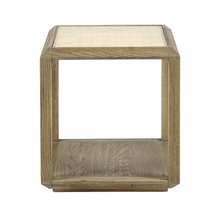 natural oak side table with rattan cane work and tempered glass