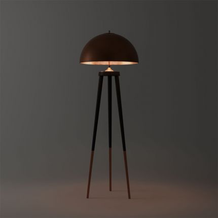 A contemporary minimalist floor standing lamp with brass accents