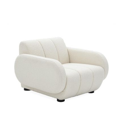 Luxurious white boucle fabric armchair with deep seating and black legs