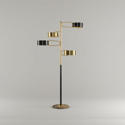 A contemporary brass and marble floor lamp with swiveling  arms
