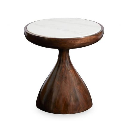 An elegant mahogany accent table with a white marble surface
