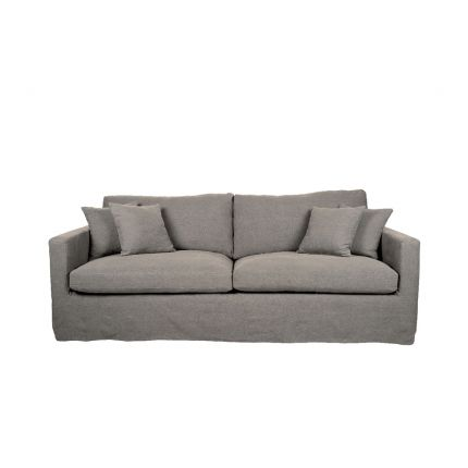 A chic dark grey linen sofa with a removable cover