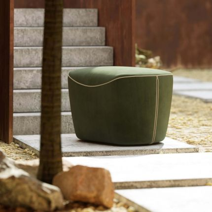 Oversized forest green velvet pouffe with piping detail