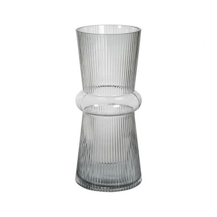 A contemporary hand blown vase with a ribbed design and unique shape