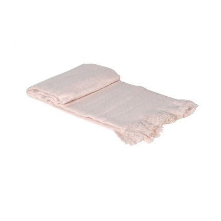 A luxurious and pink acrylic blanket throw with fringing