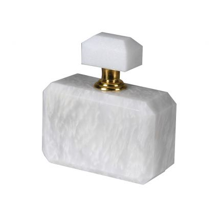 A luxuriously elegant perfume bottle with a wonderful white marble finish and beautiful brass accents