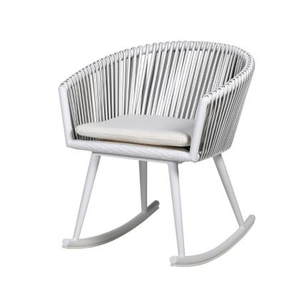 White woven armchair style rocking chair with seat cushion