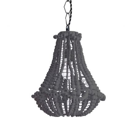 A gorgeous grey beaded chandelier