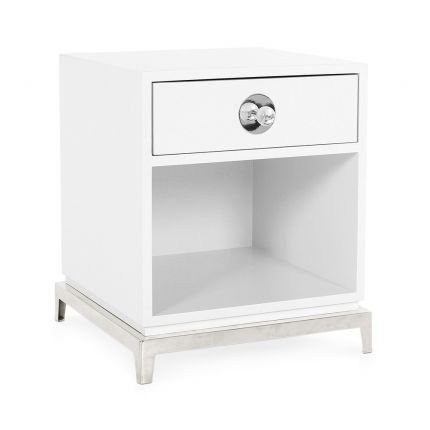 white lacquer end table with polished nickel accents