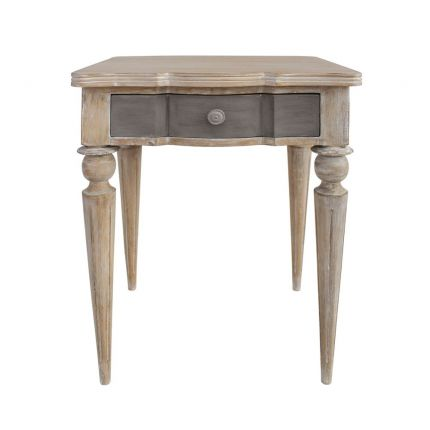 1 drawer wooden bedside table with cement tone drawer
