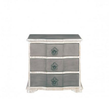 A luxurious antique french-style white and grey bedside table