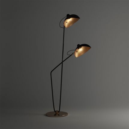 A stylish dual lampshade floor standing lamp
