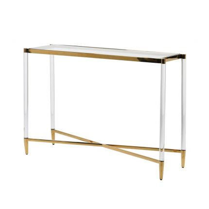 tempered glass and brass console table
