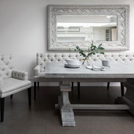 Contemporary, deep buttoned bench with arms