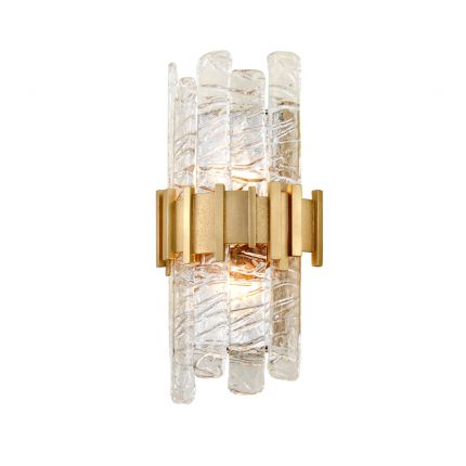 A textured glass antique gold wall sconce by Hudson Valley