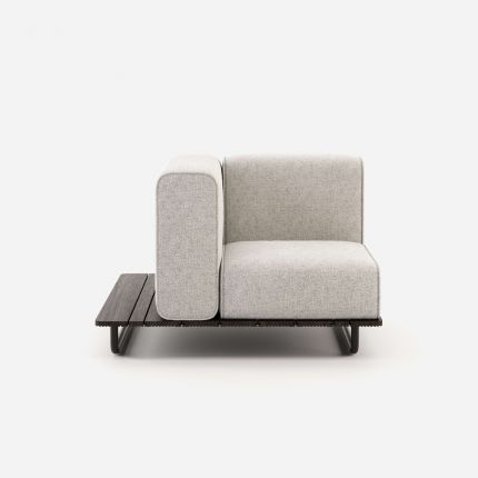 A luxurious upholstered outdoor left-hand armchair with a painted steel base