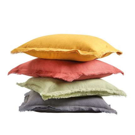Luxurious Linen Cushions in Red, Yellow, Sage and Grey