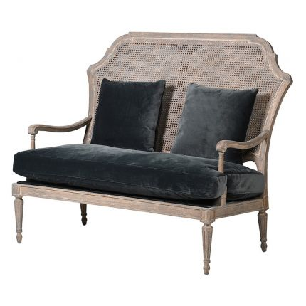 French style distressed rattan loveseat