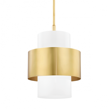 A glamorous aged brass and opal ceiling lamp