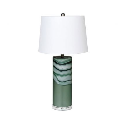 green frosted table lamp with white shade