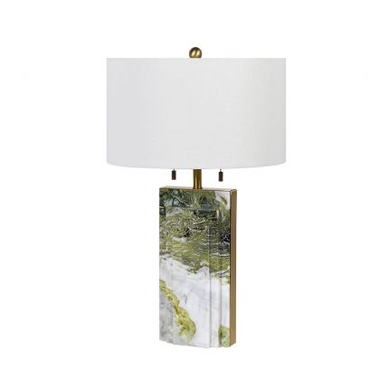 Luxury green and white marble table lamp with golden accents and white shade