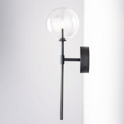 Black gunmetal brass wall lamp with large clear glass lampshade