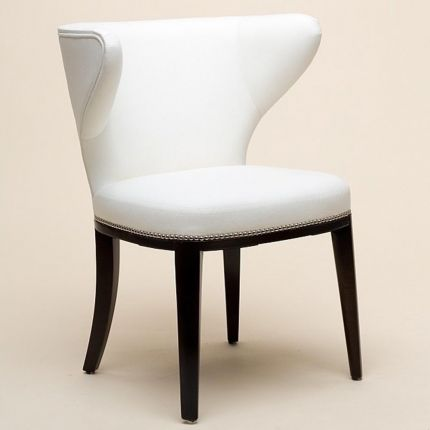 Contemporary dining chair with curved back and studding detail