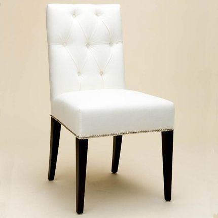 Modern, deep buttoned back dining chair with studding