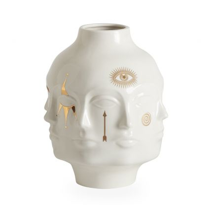 A glamorous glossy porcelain vase by Jonathan Adler with gorgeous gold symbols