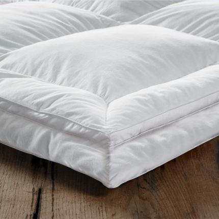 Luxury, white super soft 2 tier mattress top with duck feather and down