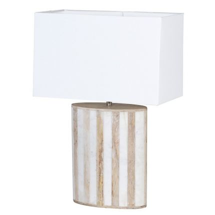 Pale wood and white marble base table lamp with white shade