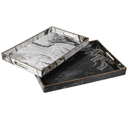 Set of 2 marble effect trays in black and white with gold detailing