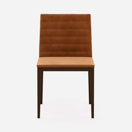 Contemporary velvet dining chair with a touch of retro