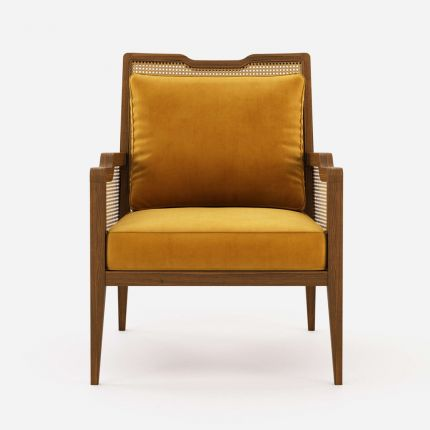 a luxurious traditional Portuguese-style armchair with yellow cushions