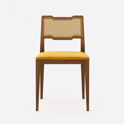 Traditional wooden dining chair with woven detailing and velvet seat