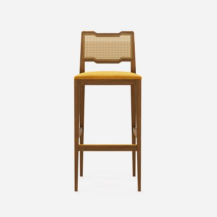 A luxurious traditional Portuguese bar stool with velvet upholstery and woven details