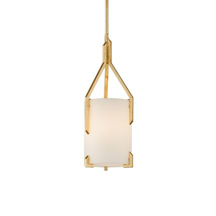An exquisite pendant by Hudson Valley with a frosted opal shade and glamourous gold-leaf fitting