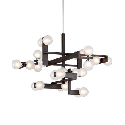 A unique forest bronze and polished chrome chandelier with frosted glass bulbs by Hudson Valley
