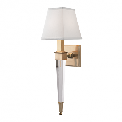 A fabulous crystal glass and aged brass wall lamp