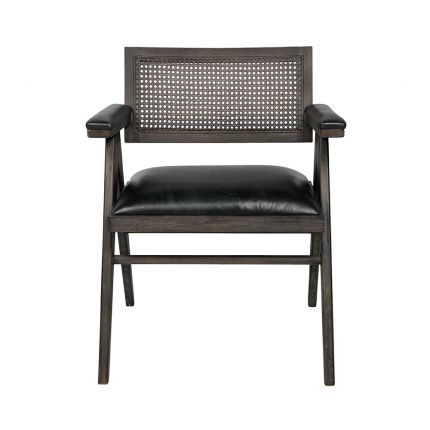 leather and rattan espresso armchair