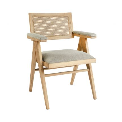 A luxurious Scandinavian-inspired rattan and natural ash upholstered armchair