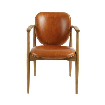 caramel leather armchair with a weathered natural ash