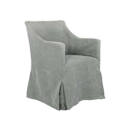 A chic dark grey upholstered armchair